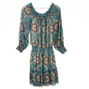 Xhilaration Teal Paisley Long Sleeve Boho Dress